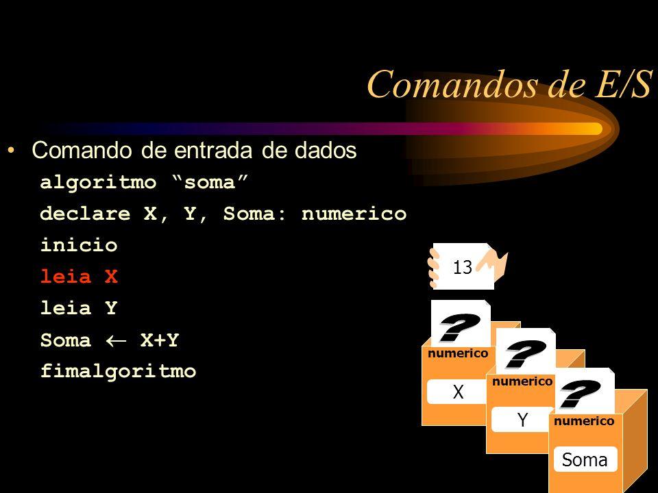 Comandos de E/S Caixa1 numerico Raio 13 numerico Raio numerico X Y Soma 13 Comando de entrada de dados algoritmo soma declare X, Y, Soma: numerico inicio leia X leia Y Soma X+Y fimalgoritmo