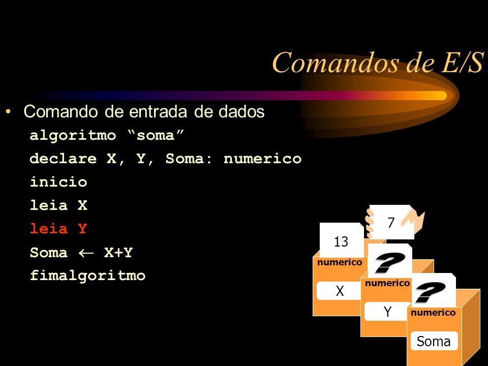 Comandos de E/S Comando de entrada de dados algoritmo soma declare X, Y, Soma: numerico inicio leia X leia Y Soma X+Y fimalgoritmo Caixa1 numerico Raio 13 numerico Raio numerico X Y Soma 13 7