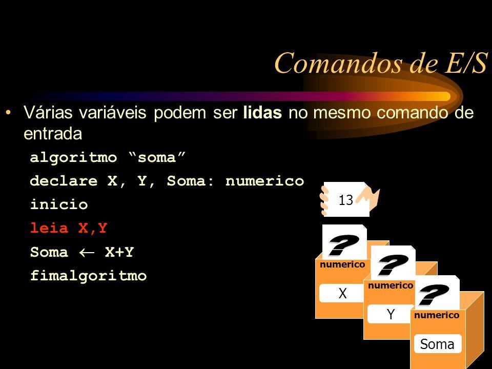 Comandos de E/S Caixa1 numerico Raio 13 numerico Raio numerico X Y Soma 13 Várias variáveis podem ser lidas no mesmo comando de entrada algoritmo soma declare X, Y, Soma: numerico inicio leia X,Y Soma X+Y fimalgoritmo
