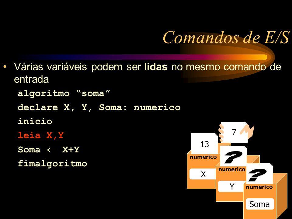 Comandos de E/S Várias variáveis podem ser lidas no mesmo comando de entrada algoritmo soma declare X, Y, Soma: numerico inicio leia X,Y Soma X+Y fimalgoritmo Caixa1 numerico Raio 13 numerico Raio numerico X Y Soma 13 7