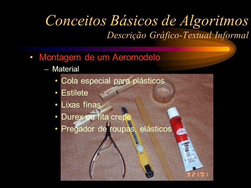 Conceitos Básicos de Algoritmos Descrição Gráfico-Textual Informal Montagem de um Aeromodelo –Material Cola especial para plásticos Estilete Lixas fin