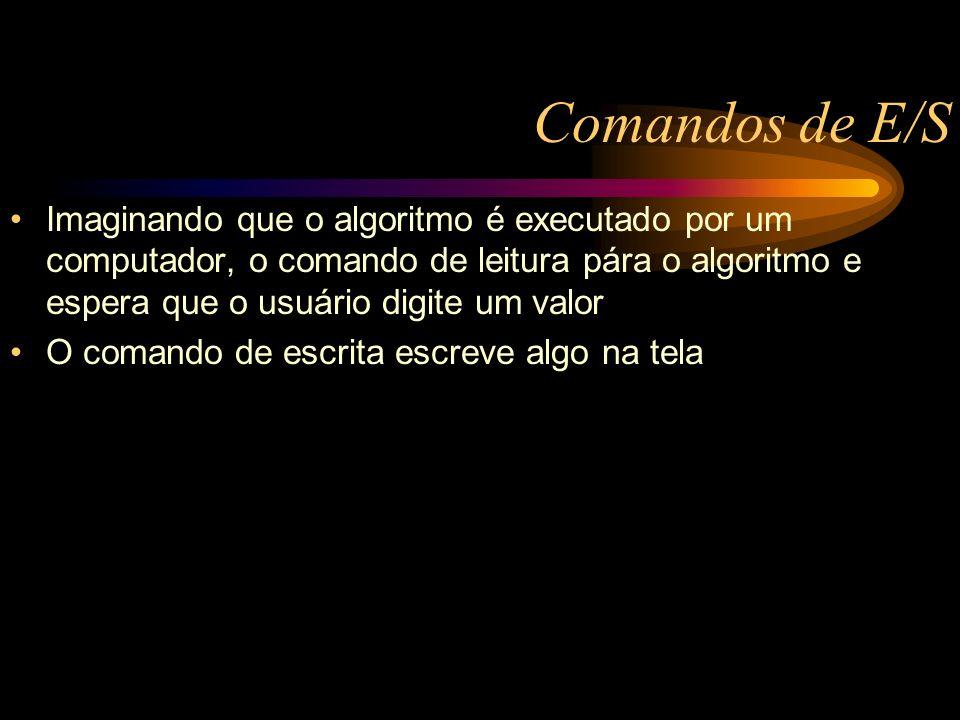 Comandos de E/S Imaginando que o algoritmo é executado por um computador, o comando de leitura pára o algoritmo e espera que o usuário digite um valor O comando de escrita escreve algo na tela
