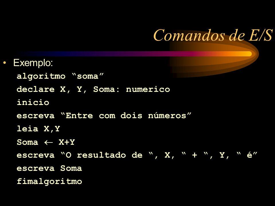 Comandos de E/S Exemplo: algoritmo soma declare X, Y, Soma: numerico inicio escreva Entre com dois números leia X,Y Soma X+Y escreva O resultado de, X, +, Y, é escreva Soma fimalgoritmo