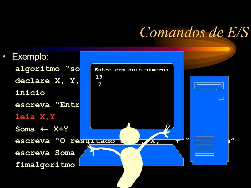Exemplo: algoritmo soma declare X, Y, Soma: numerico inicio escreva Entre com dois números leia X,Y Soma X+Y escreva O resultado de, X, +, Y, é escreva Soma fimalgoritmo Comandos de E/S Entre com dois números 13 7