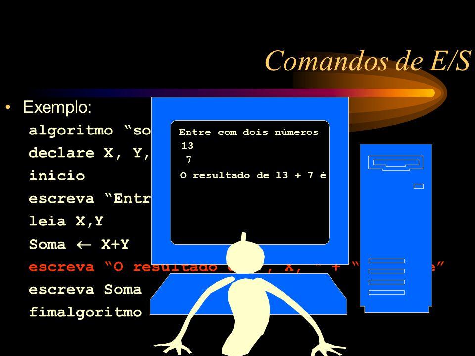 Comandos de E/S Exemplo: algoritmo soma declare X, Y, Soma: numerico inicio escreva Entre com dois números leia X,Y Soma X+Y escreva O resultado de, X