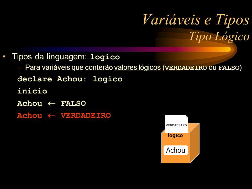 Variáveis e Tipos Tipo Lógico Tipos da linguagem: logico –Para variáveis que conterão valores lógicos ( VERDADEIRO ou FALSO ) declare Achou: logico in