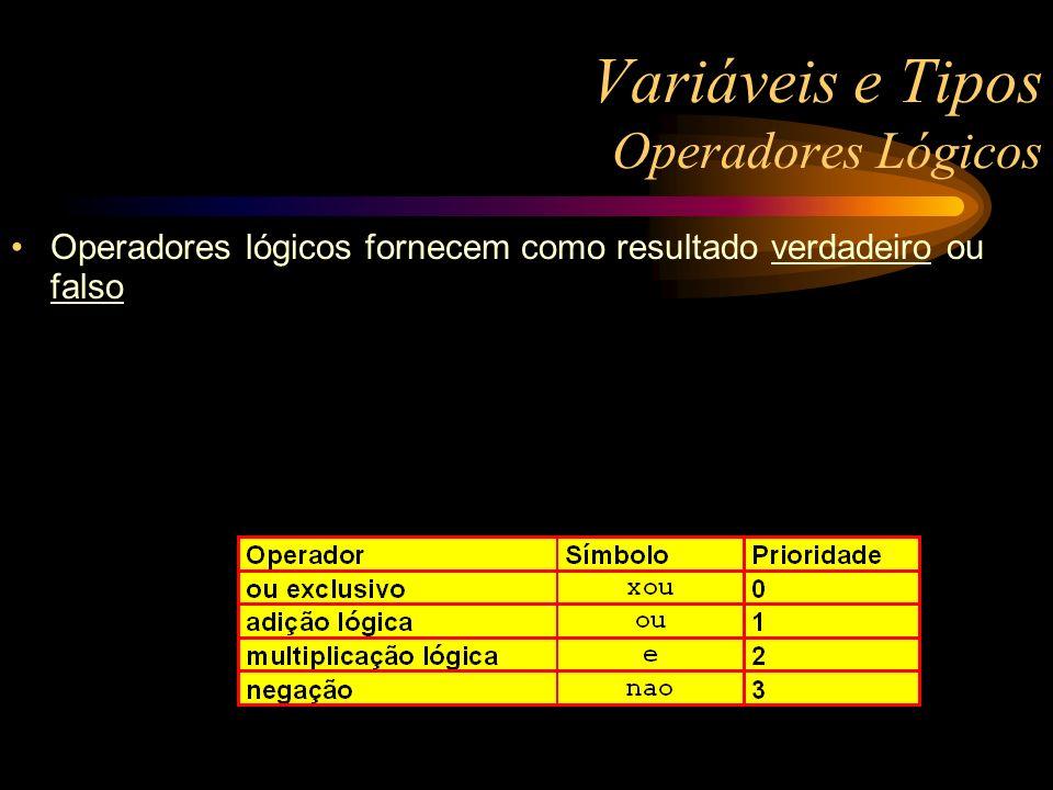 Variáveis e Tipos Operadores Lógicos Operadores lógicos fornecem como resultado verdadeiro ou falso