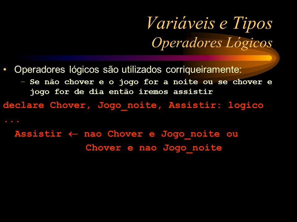 Variáveis e Tipos Operadores Lógicos Operadores lógicos são utilizados corriqueiramente: –Se não chover e o jogo for a noite ou se chover e jogo for d