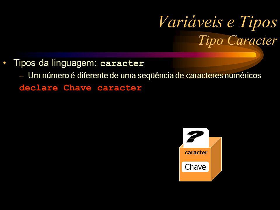 Variáveis e Tipos Tipo Caracter Tipos da linguagem: caracter –Um número é diferente de uma seqüência de caracteres numéricos declare Chave caracter 3.14 numerico Raio 13 numerico Raio 13 numerico Raio caracter Chave