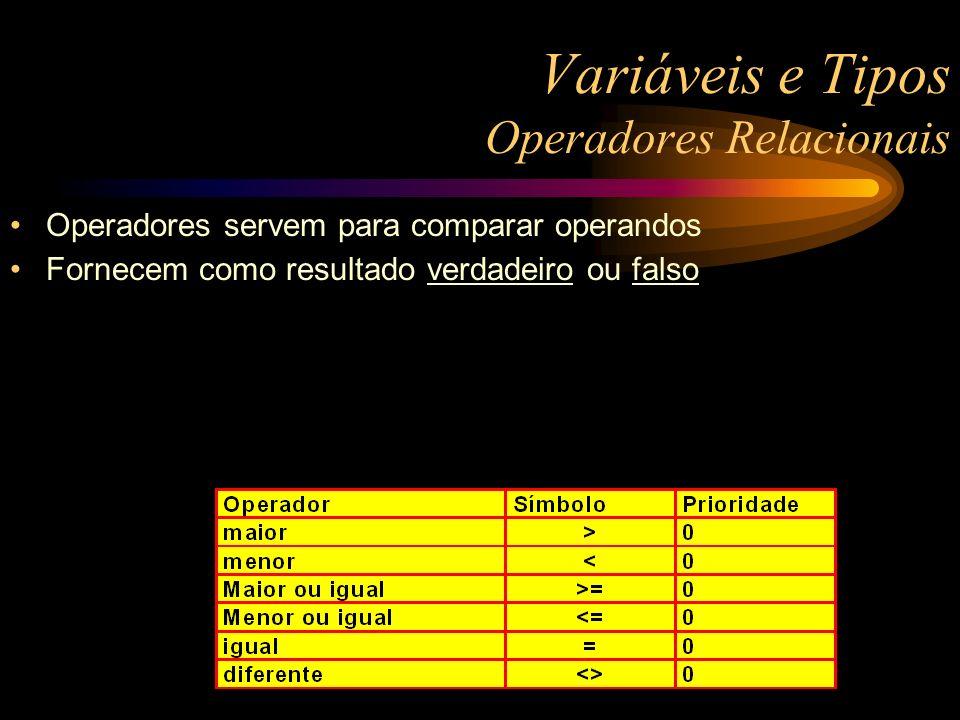 Variáveis e Tipos Operadores Relacionais Operadores servem para comparar operandos Fornecem como resultado verdadeiro ou falso