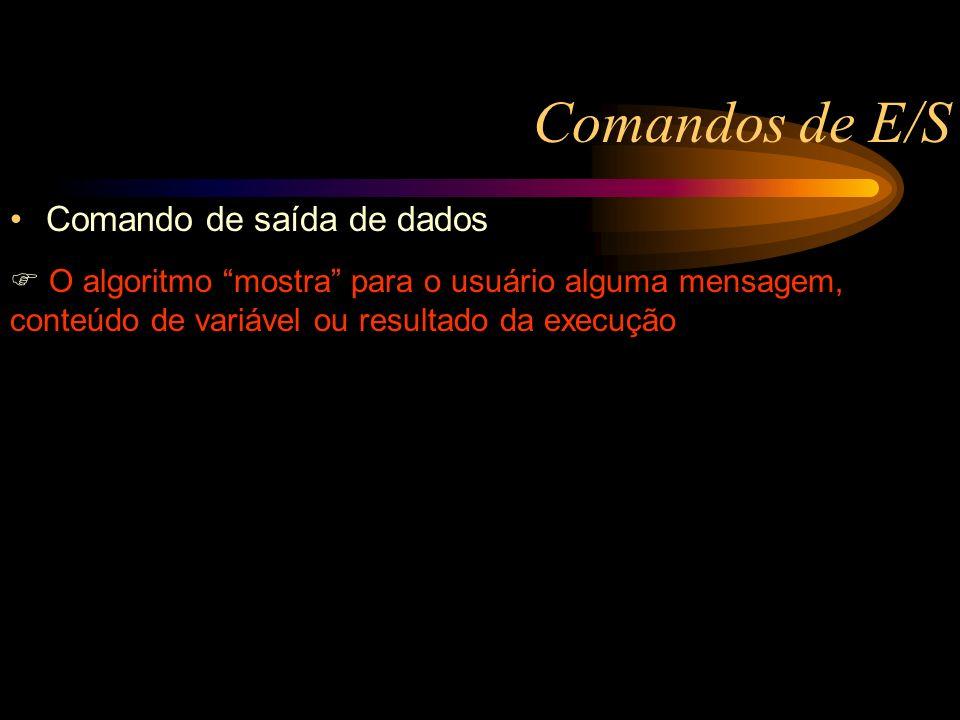 Comandos de E/S Comando de saída de dados O algoritmo mostra para o usuário alguma mensagem, conteúdo de variável ou resultado da execução Caixa1