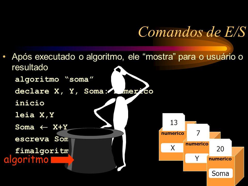 Comandos de E/S Após executado o algoritmo, ele mostra para o usuário o resultado algoritmo soma declare X, Y, Soma: numerico inicio leia X,Y Soma X+Y escreva Soma fimalgoritmo Caixa1 numerico Raio 13 numerico Raio numerico X Y Soma 13 7 20 algoritmo