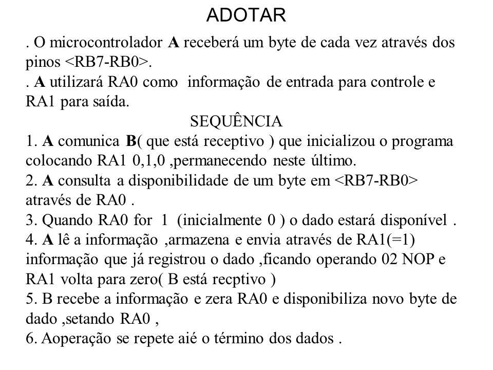 ADOTAR. O microcontrolador A receberá um byte de cada vez através dos pinos.. A utilizará RA0 como informação de entrada para controle e RA1 para saíd