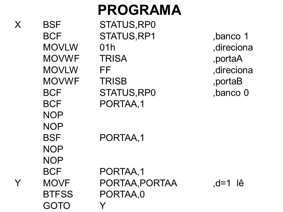 PROGRAMA XBSFSTATUS,RP0 BCFSTATUS,RP1,banco 1 MOVLW01h,direciona MOVWFTRISA,portaA MOVLWFF,direciona MOVWFTRISB,portaB BCFSTATUS,RP0,banco 0 BCFPORTAA