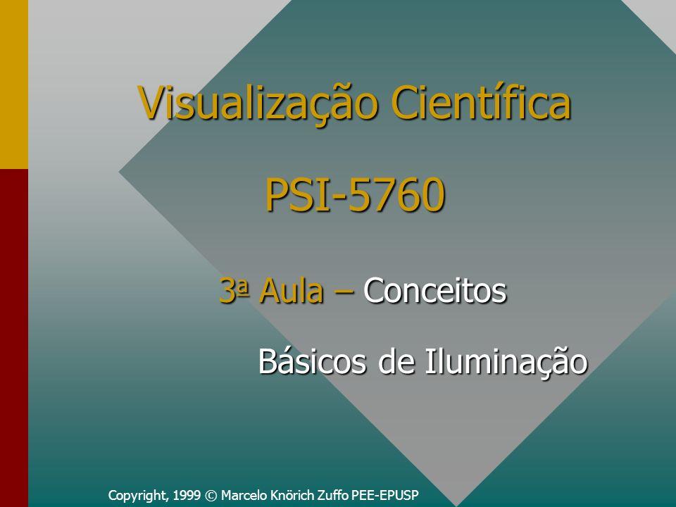 Copyright, 1999 © Marcelo Knörich Zuffo PEE-EPUSP Visualização Científica PSI-5760 3 a Aula – Conceitos Básicos de Iluminação