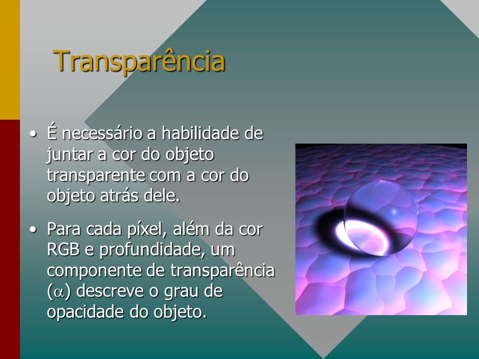 Transparência É necessário a habilidade de juntar a cor do objeto transparente com a cor do objeto atrás dele.É necessário a habilidade de juntar a cor do objeto transparente com a cor do objeto atrás dele.