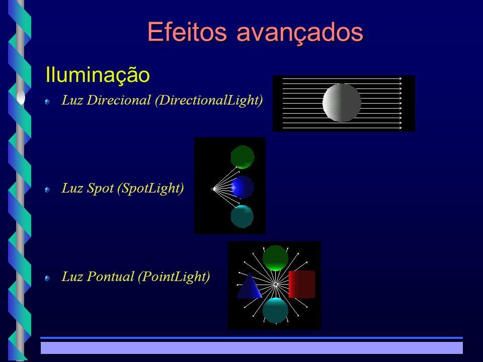 © Copyright MKZ 2002.3PEE 5787 - Realidade Virtual1 Efeitos avançados Luz direcional ligado TRUE Intensidade 1 Intensidade ambiente 0 Cor 1 1 1 Direção 0 0 -1