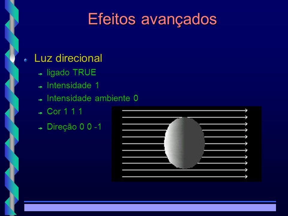© Copyright MKZ 2002.3PEE 5787 - Realidade Virtual1 Efeitos avançados Luz de Spot Ligado TRUE Intensidade 1 Intensidade ambiente 0 Cor 1 1 1 localização 0 0 0 Direção 1 0 0 Atenuação 1 0 0 Raio 100 Ângulo de penumbra 0.78 Ângulo do raio 1.57