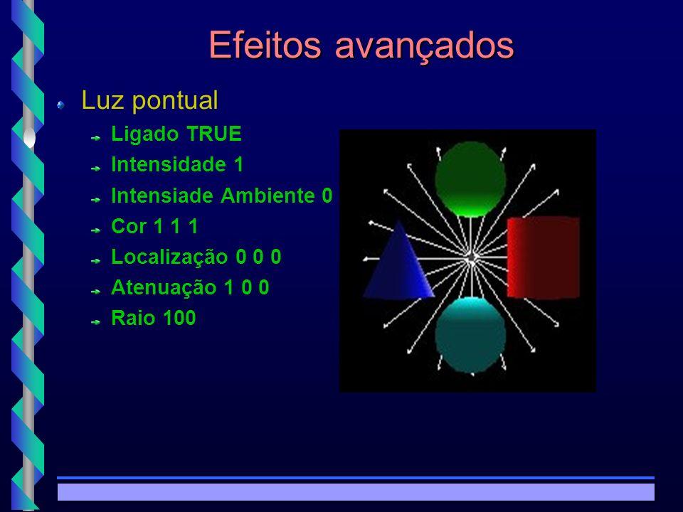 © Copyright MKZ 2002.3PEE 5787 - Realidade Virtual1 Efeitos avançados Luz pontual Ligado TRUE Intensidade 1 Intensiade Ambiente 0 Cor 1 1 1 Localização 0 0 0 Atenuação 1 0 0 Raio 100
