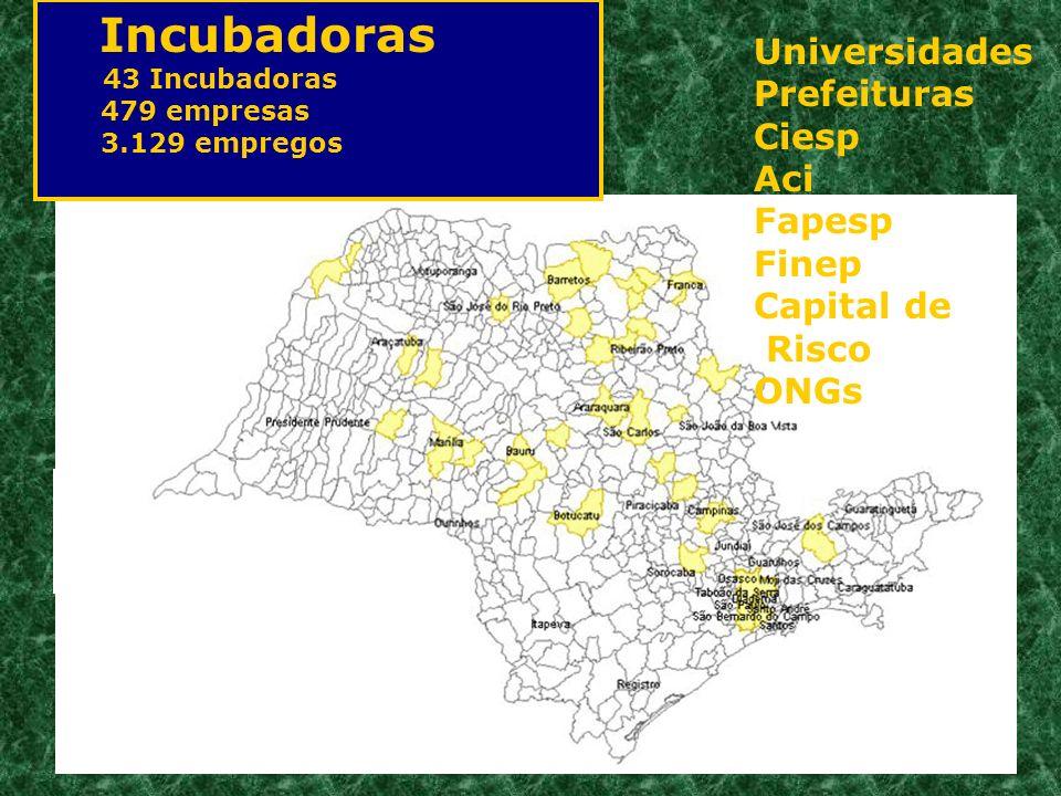 Incubadoras 43 Incubadoras 479 empresas 3.129 empregos Universidades Prefeituras Ciesp Aci Fapesp Finep Capital de Risco ONGs