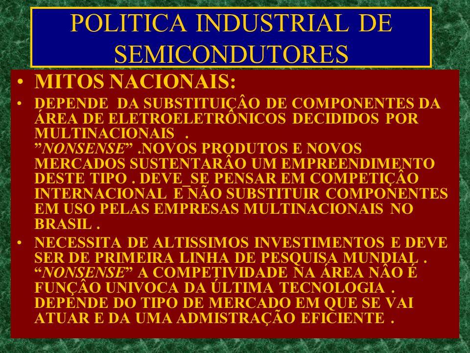 POLITICA INDUSTRIAL DE SEMICONDUTORES MITOS NACIONAIS: DEPENDE DA SUBSTITUIÇÂO DE COMPONENTES DA ÁREA DE ELETROELETRÔNICOS DECIDIDOS POR MULTINACIONAIS.NONSENSE.NOVOS PRODUTOS E NOVOS MERCADOS SUSTENTARÂO UM EMPREENDIMENTO DESTE TIPO.