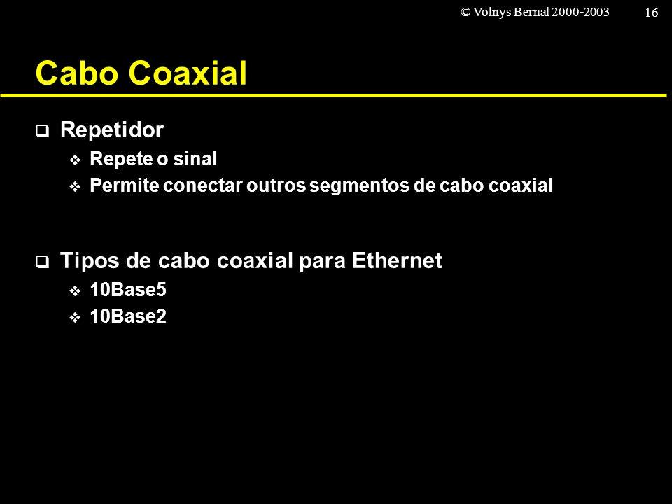 © Volnys Bernal 2000-2003 16 Cabo Coaxial Repetidor Repete o sinal Permite conectar outros segmentos de cabo coaxial Tipos de cabo coaxial para Ethern