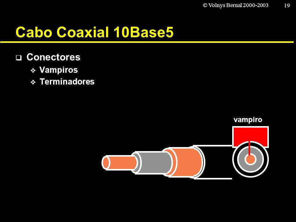 © Volnys Bernal 2000-2003 19 Cabo Coaxial 10Base5 Conectores Vampiros Terminadores vampiro
