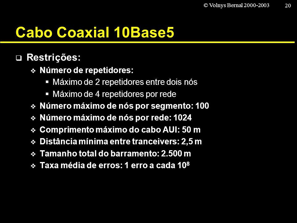 © Volnys Bernal 2000-2003 20 Cabo Coaxial 10Base5 Restrições: Número de repetidores: Máximo de 2 repetidores entre dois nós Máximo de 4 repetidores po