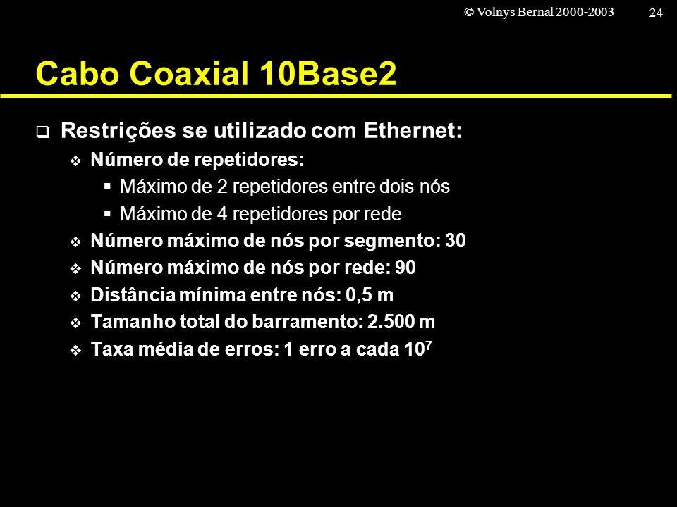 © Volnys Bernal 2000-2003 24 Cabo Coaxial 10Base2 Restrições se utilizado com Ethernet: Número de repetidores: Máximo de 2 repetidores entre dois nós