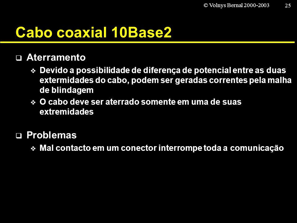 © Volnys Bernal 2000-2003 25 Cabo coaxial 10Base2 Aterramento Devido a possibilidade de diferença de potencial entre as duas extermidades do cabo, pod