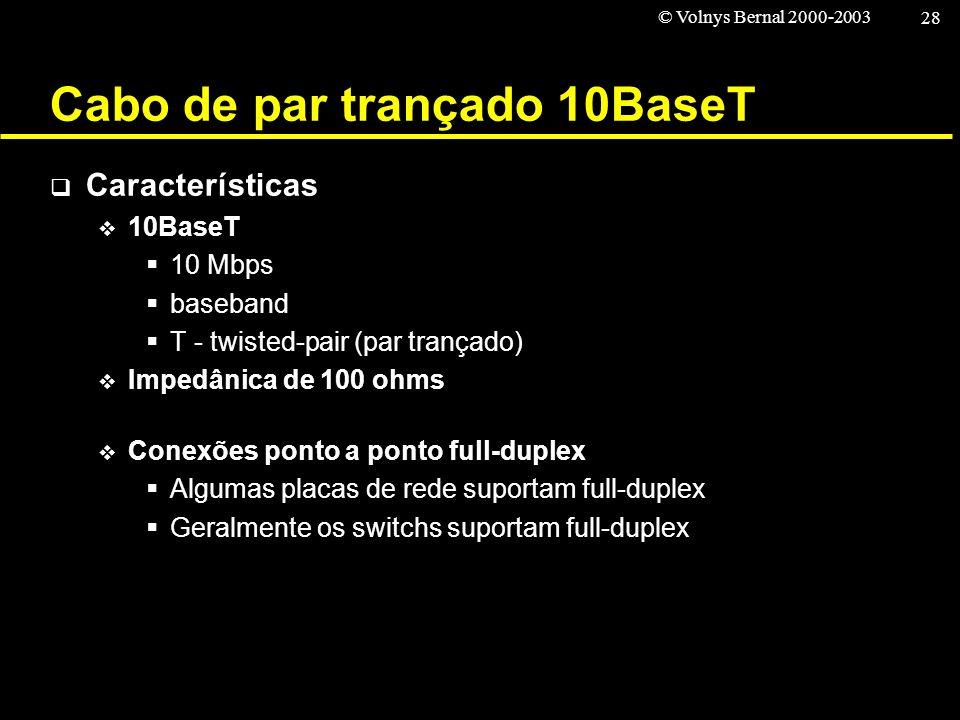 © Volnys Bernal 2000-2003 28 Cabo de par trançado 10BaseT Características 10BaseT 10 Mbps baseband T - twisted-pair (par trançado) Impedânica de 100 o