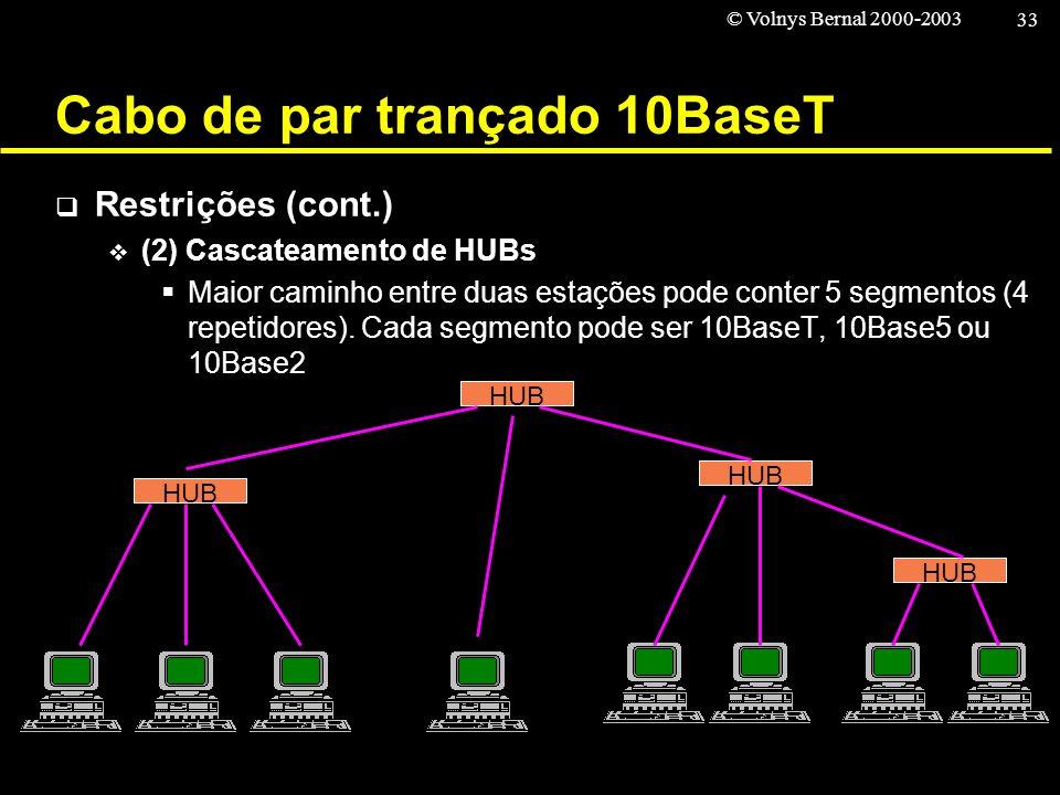 © Volnys Bernal 2000-2003 33 Cabo de par trançado 10BaseT Restrições (cont.) (2) Cascateamento de HUBs Maior caminho entre duas estações pode conter 5