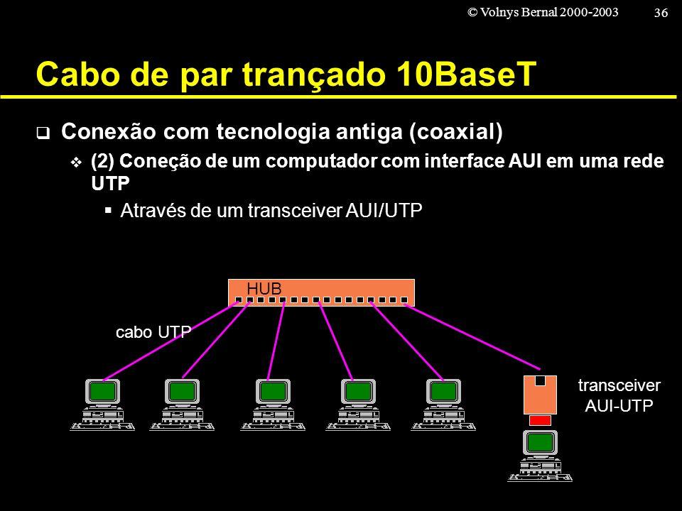 © Volnys Bernal 2000-2003 36 Cabo de par trançado 10BaseT Conexão com tecnologia antiga (coaxial) (2) Coneção de um computador com interface AUI em um