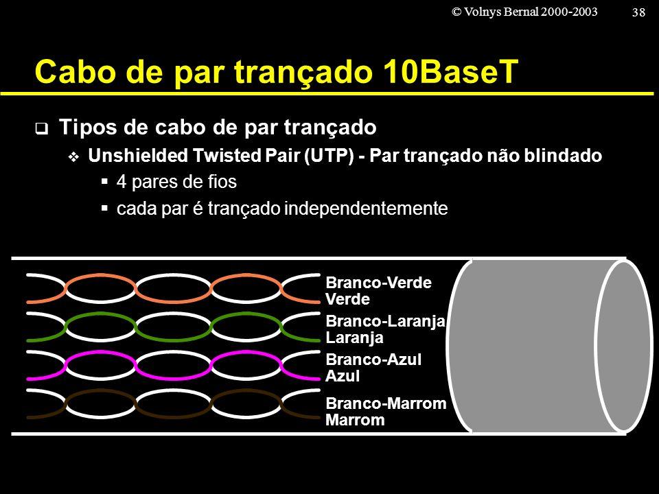 © Volnys Bernal 2000-2003 38 Cabo de par trançado 10BaseT Tipos de cabo de par trançado Unshielded Twisted Pair (UTP) - Par trançado não blindado 4 pa