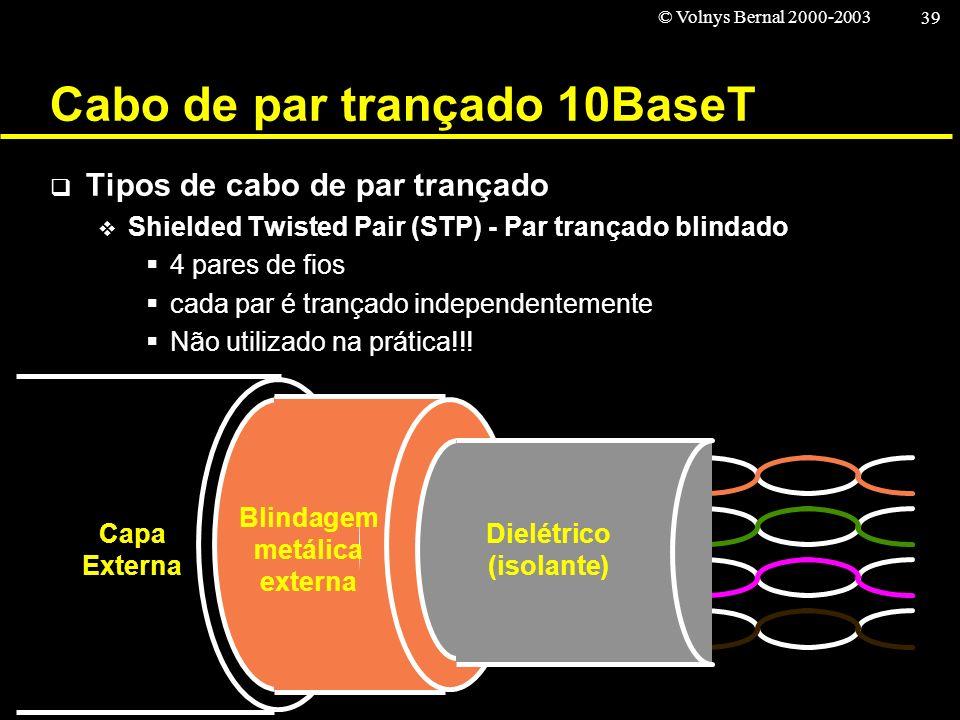 © Volnys Bernal 2000-2003 39 Cabo de par trançado 10BaseT Tipos de cabo de par trançado Shielded Twisted Pair (STP) - Par trançado blindado 4 pares de