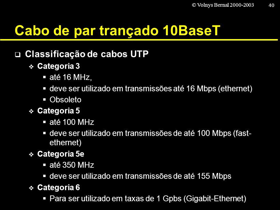 © Volnys Bernal 2000-2003 40 Cabo de par trançado 10BaseT Classificação de cabos UTP Categoria 3 até 16 MHz, deve ser utilizado em transmissões até 16