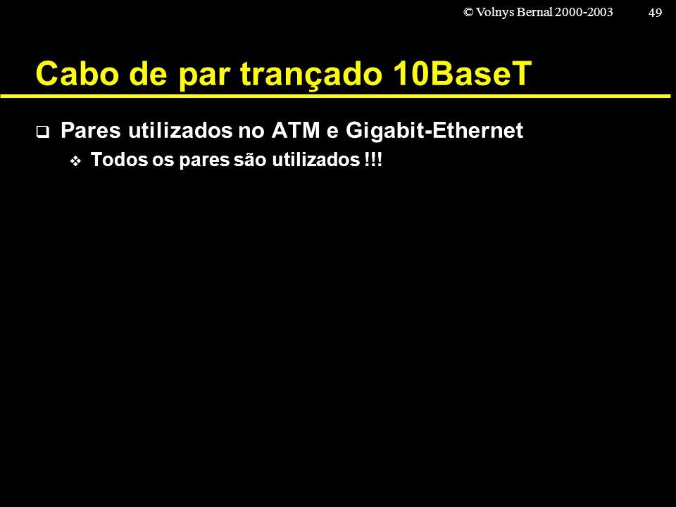 © Volnys Bernal 2000-2003 49 Cabo de par trançado 10BaseT Pares utilizados no ATM e Gigabit-Ethernet Todos os pares são utilizados !!!