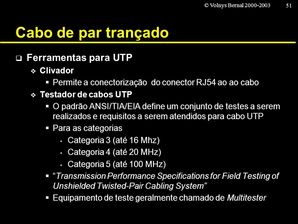 © Volnys Bernal 2000-2003 51 Cabo de par trançado Ferramentas para UTP Clivador Permite a conectorização do conector RJ54 ao ao cabo Testador de cabos