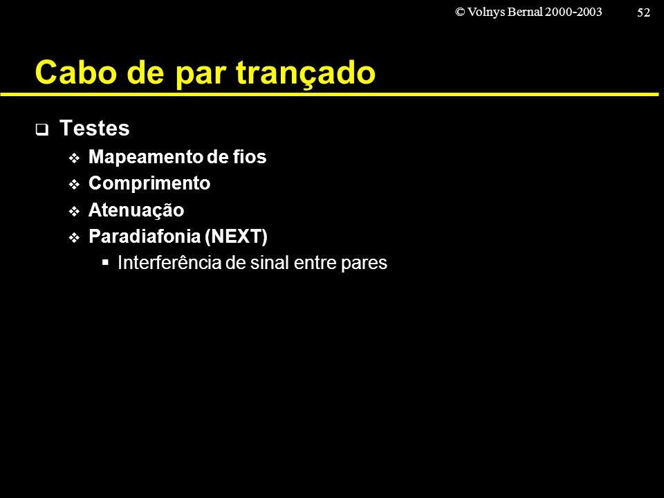 © Volnys Bernal 2000-2003 52 Cabo de par trançado Testes Mapeamento de fios Comprimento Atenuação Paradiafonia (NEXT) Interferência de sinal entre par