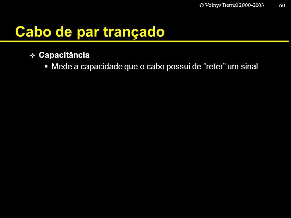© Volnys Bernal 2000-2003 60 Cabo de par trançado Capacitância Mede a capacidade que o cabo possui de reter um sinal
