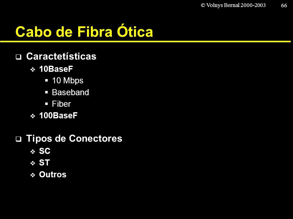 © Volnys Bernal 2000-2003 66 Cabo de Fibra Ótica Caractetísticas 10BaseF 10 Mbps Baseband Fiber 100BaseF Tipos de Conectores SC ST Outros