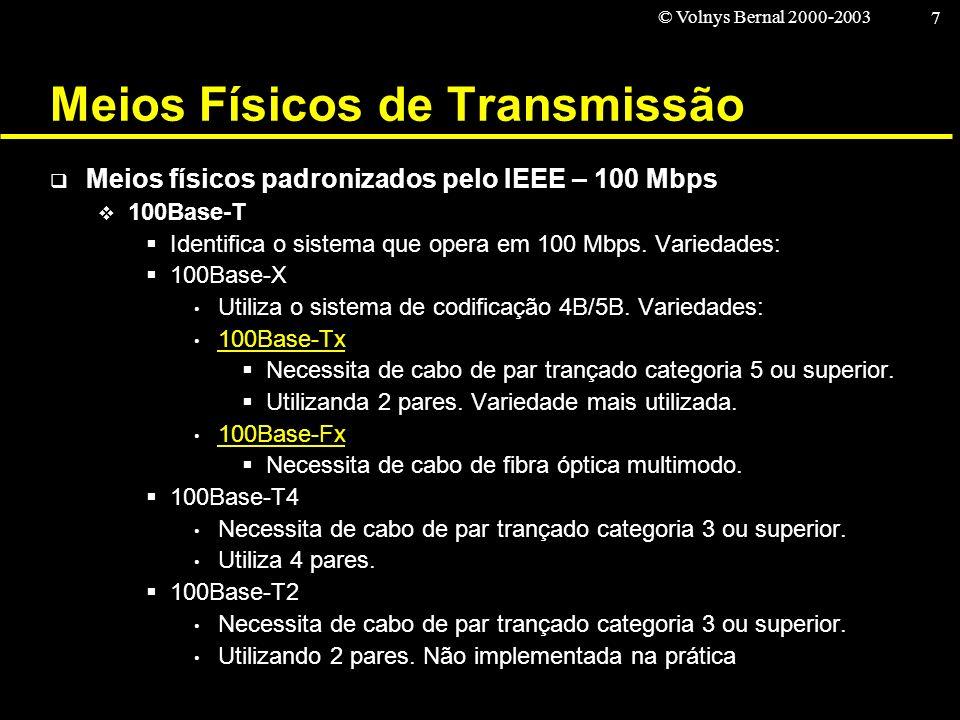 © Volnys Bernal 2000-2003 7 Meios Físicos de Transmissão Meios físicos padronizados pelo IEEE – 100 Mbps 100Base-T Identifica o sistema que opera em 1