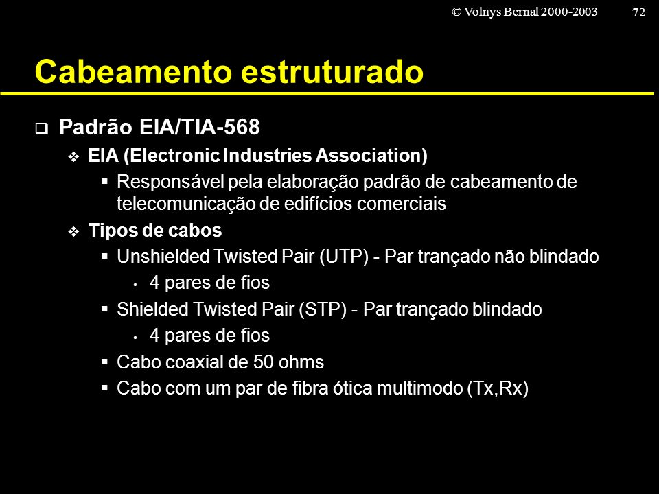 © Volnys Bernal 2000-2003 72 Cabeamento estruturado Padrão EIA/TIA-568 EIA (Electronic Industries Association) Responsável pela elaboração padrão de c