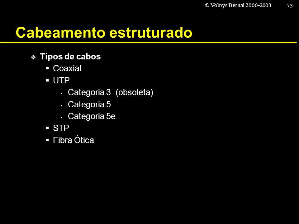 © Volnys Bernal 2000-2003 73 Cabeamento estruturado Tipos de cabos Coaxial UTP Categoria 3 (obsoleta) Categoria 5 Categoria 5e STP Fibra Ótica