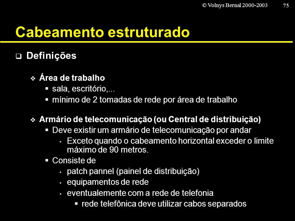 © Volnys Bernal 2000-2003 75 Cabeamento estruturado Definições Área de trabalho sala, escritório,... mínimo de 2 tomadas de rede por área de trabalho