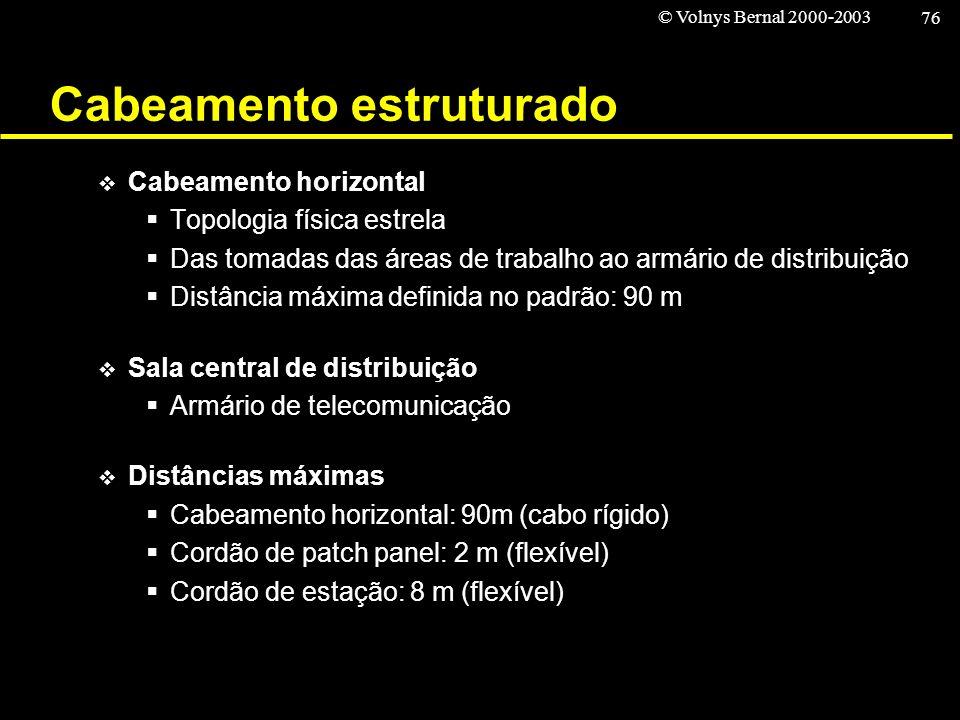 © Volnys Bernal 2000-2003 76 Cabeamento estruturado Cabeamento horizontal Topologia física estrela Das tomadas das áreas de trabalho ao armário de dis
