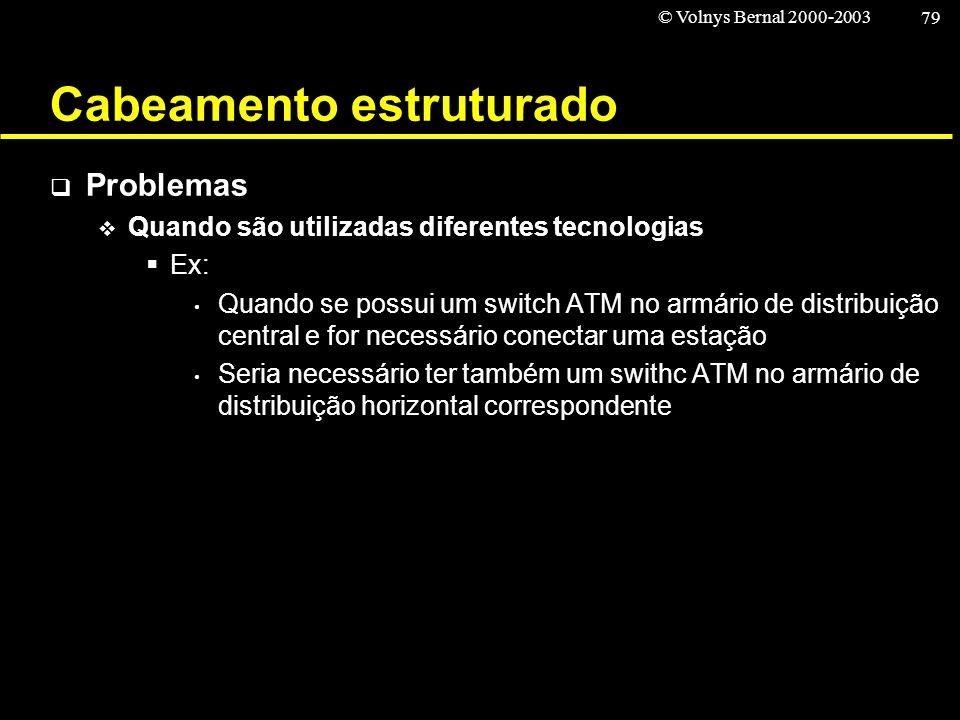 © Volnys Bernal 2000-2003 79 Cabeamento estruturado Problemas Quando são utilizadas diferentes tecnologias Ex: Quando se possui um switch ATM no armár