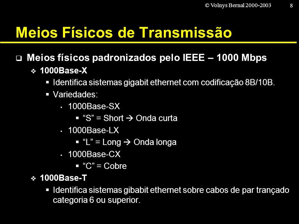© Volnys Bernal 2000-2003 8 Meios Físicos de Transmissão Meios físicos padronizados pelo IEEE – 1000 Mbps 1000Base-X Identifica sistemas gigabit ether