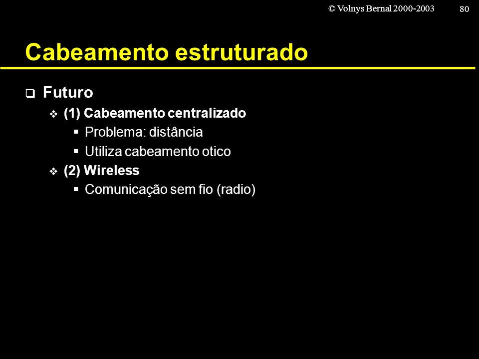 © Volnys Bernal 2000-2003 80 Cabeamento estruturado Futuro (1) Cabeamento centralizado Problema: distância Utiliza cabeamento otico (2) Wireless Comun