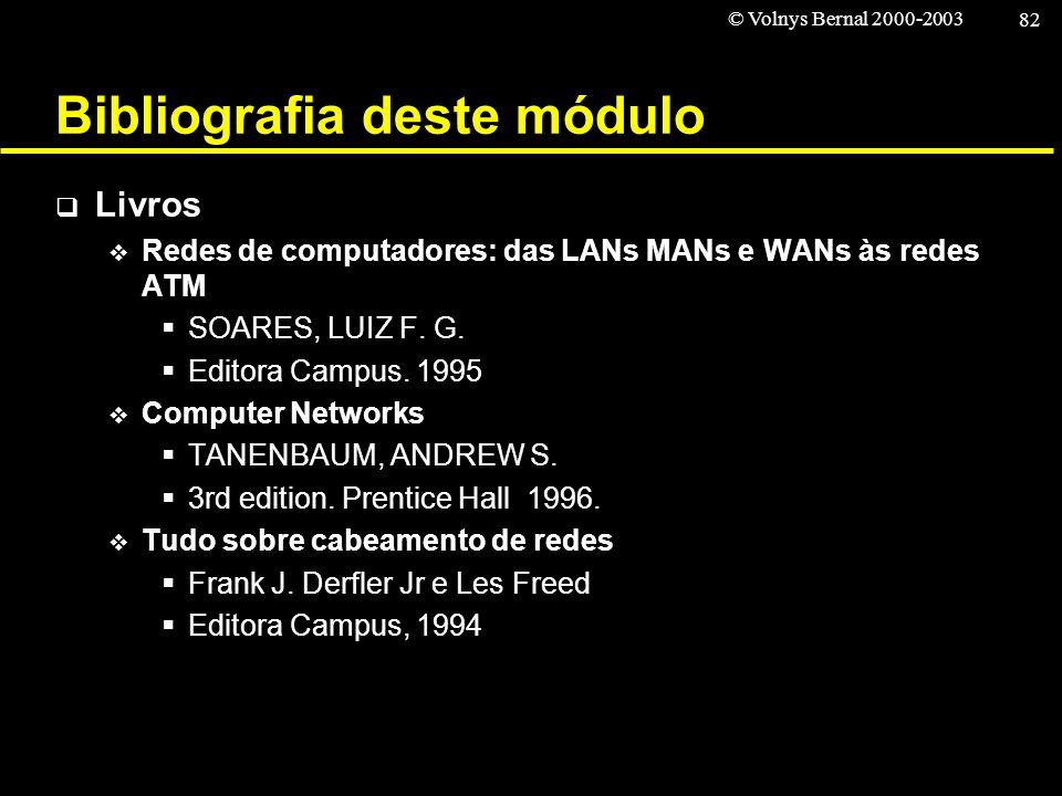 © Volnys Bernal 2000-2003 82 Bibliografia deste módulo Livros Redes de computadores: das LANs MANs e WANs às redes ATM SOARES, LUIZ F. G. Editora Camp